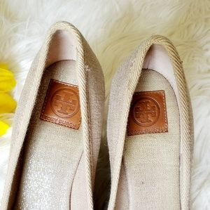 Tory Burch Shoes - Tory Burch Jackie Beige Metallic Espadrille Wedges